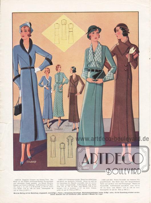 4857/58: Elegantes Complet aus blauem Tuch. Das Kleid ist mit weißen Seidenmanschetten, Plisseevolants und schwarzem Paspel garniert. Am Mantel Blenden, Kragen und Gürtel in Schwarz. 4859/61: Übergangscomplet: Mantel aus einfarbigem und Kleid aus kariertem Wollstoff. Dieser ist auch für die Garnierung des Mantels verwendet, den ein schwarzer Gürtel zusammenhält. 4860/62: Ensemble aus braunem Diagonal-Wollstoff. Das Kleid zeigt eine lang geschnittene Taille und am Rock vorn eine Faltengruppe. Mantel mit Passeneffekt.