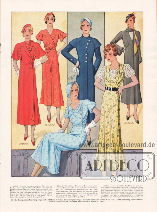 5649/50: Schickes Sommerensemble: Ein hell getupfter, roter Crêpe de Chine ist für das Kleid und ein in gleichem Rot gehaltener feiner Wollmarocain für den Mantel verwendet, der mit dem Material des Kleides gefüttert ist. Den Puffärmeln des Kleides liegt der Capekragen des Mantels auf.5651/52: Jugendliches Ensemble: Kleid aus kunstseidenem Marocain, Mantel aus mittelblauem Wollgeorgette mit wirkungsvollen Schnitteilungen. Am Kleid Drapierungseffekt und Silberknöpfe, die sich am Mantel wiederholen.5653/54: Apartes Ensemble: Das Kleid aus gemustertem Kunstseidengeorgette wird durch einen Einsatz nebst Ärmeln aus Valenciennesspitzen ergänzt. Der Mantel aus schwarzem Marocain ist tailliert und einreihig geknöpft. Zur Vervollständigung dient ein aus schwarzem und gelbem Georgette zusammengesetzter Schal.
