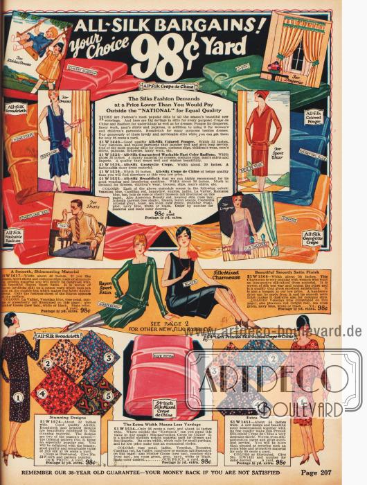 Seiden-Brokat für Kinderkleidung, Abendkleider oder Hemden und Seiden-Georgette-Krepp für Vorhänge, Sportkleider oder Damenunterwäsche für günstige 98¢ pro Yard.