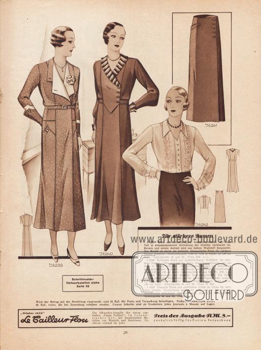 """""""Für stärkere Damen"""". 6239: Kleid aus mittelfarbigem Diagonalwollstoff, der zum Teil in entgegengesetzter Anordnung der Streifen verwendet ist. Revers und untere Ärmel sind aus hellem Wollstoff hergestellt. Das Modell ist durch die einfache, längsgeteilte Form für stärkere Damen geeignet. 6240: Einfaches Kleid aus dunkelfarbigem Wollstoff, für stärkere Damen. Sehr vorteilhafte Form mit Längsteilungen, die am Rock in Falten verlaufen. Als Garnierung Kragen und Aufschläge aus gestreiftem Material, am Rande ausgefranst. 6241: Blusenrock aus dunklem Diagonalwollstoff. Die linksseitlich geknöpfte Wickelform ist für stärkere Figuren sehr vorteilhaft. Rechts eine eingesetzte Tasche. 6242: Elegante Bluse aus gelblichem Crêpe de Chine für stärkere Damen. Écrufarbene Spitze ist vorn und an den Ärmeln blendenartig inkrustiert."""