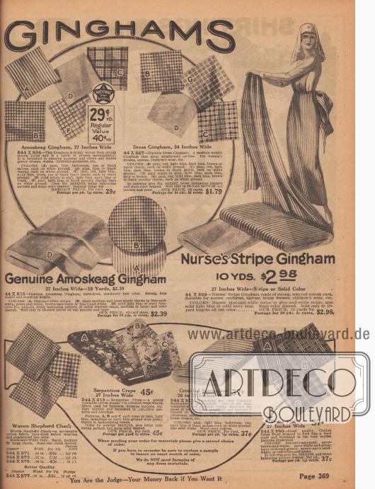 Amoskeag Gingham (hergestellt von der Amoskeag Manufacturing Co. in Manchester, New Hampshire, USA), karierter und gestreifter Gingham, schottisch karierter Baumwollstoff, bunt bedruckter und waschbarer Serpentinen Krepp (z. B. für Kimonos) sowie zerknittertes und gaufriertes Baumwollgewebe zum Nähen von Kleidern. Die Breite der Stoffe variiert zwischen 24 und 36 Inch (also 60,96 und 91,44 cm). Die Preise beziehen sich auf ein Yard Länge (91,44 cm) und liegen zwischen 25 Cent und 2,39 Dollar.