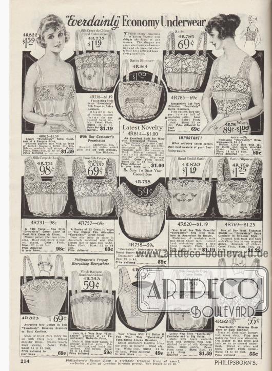 """""""Günstige Unterwäsche der Marke 'Everdainty'"""" (engl. """"'Everdainty' Economy Underwear""""). Damenunterwäsche. Damenuntertaillen (engl. """"corset covers"""" oder """"camisoles""""), die oberhalb des Korsetts getragen wurden, um die feine Kleidung vor Beschädigungen durch durchstechende Metalldrähte des Korsetts zu schützen. Ganz unten rechts und links befinden sich """"Bandeau Brassieres"""", die hier auch als """"Bust Confiners"""" (dt. Büstenhalter) bezeichnet werden. Die Untertaillen sind aus Satin und Georgette, Seiden-Crêpe de Chine, Cluny Spitze, Nainsook (leichter Baumwollmusselin), Waschsatin, Batist, Leinen oder merzerisiertem Trikot-Gewebe. Mehrere Modelle besitzen ein Taillenband mit Gummizug sowie eine Frontöffnung."""