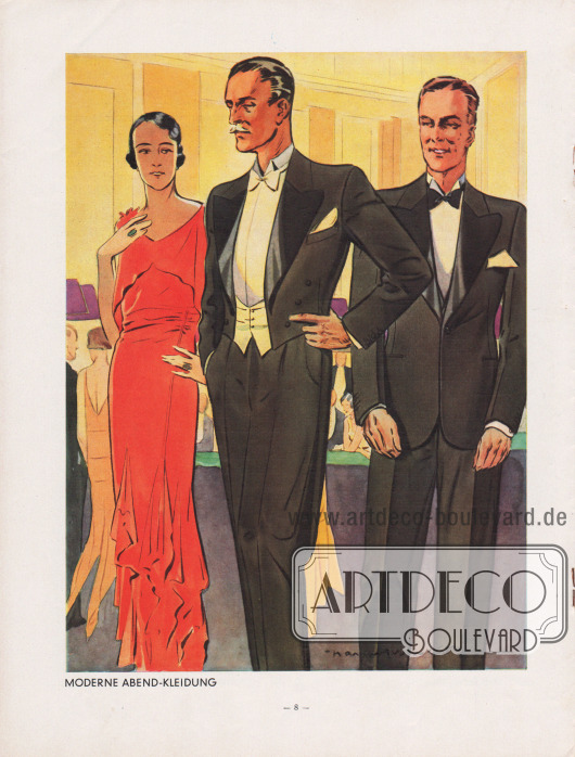 """""""Moderne Abend-Kleidung"""". Mitte: Frack für die elegante Abendgesellschaft. Die Revers des Fracks sind breit und lang verarbeitet und rollen stark aus. Zudem sind sie mit schwerer glänzender Seide gedeckt. Weiße, einreihige Weste. Rechts: Eleganter Smoking der auf einen Knopf schließt. Die Revers sind mit glänzender Seide gedeckt. Gerade Taschen ohne Klappen. Sakko mit Taillenabnähern. Hose mit Galon. Illustration/Zeichnung: Harald Schwerdtfeger (1888-1956)."""