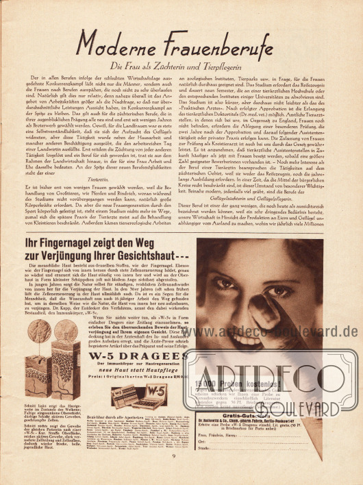Artikel:O. V., Moderne Frauenberufe. Die Frau als Züchterin und Tierpflegerin.Werbung:Dr. Ballowitz & Co., W-5 Dragees