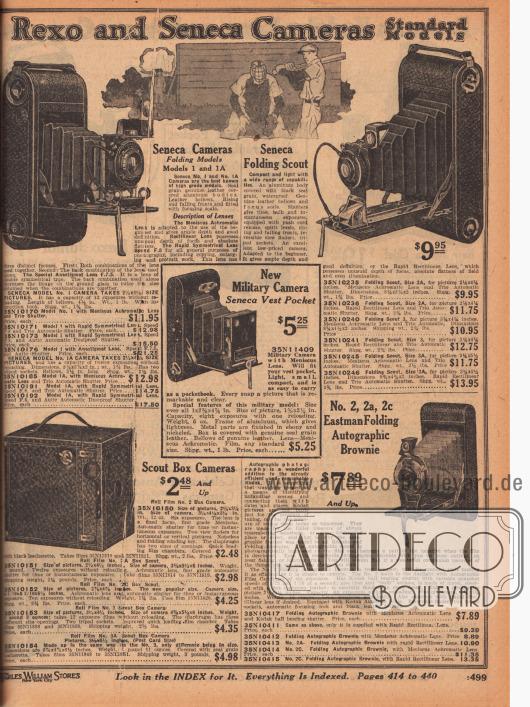 """""""Rexo und Seneca Fotoapparate – Standard Modelle"""" (engl. """"Rexo and Seneca Cameras – Standard Models""""). Rollfilm-Fotokameras der günstigen Variante (Einstiegsmodelle) zum manuellen Ausklappen und Einstellen der Linse. Links unten befindet sich eine Scout Box Kamera, die an den Eastman Kodak Apparat auf der gegenüberliegenden Seite 498 angelehnt ist. In der Mitte eine neuartige Militärkamera für die Westentasche. Im Angebot sind Fotokameras der Modelle Seneca Modell 1, 1A (links oben), 2A, 3 und 3A (oben rechts) sowie der Eastman Faltapparat No. 2, 2a und 2c."""