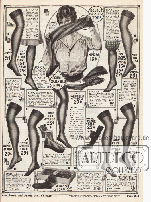 Damenstrümpfe aus Baumwolle oder merzerisierter Baumwolle mit verstärkten Fersen und Zehen sowie Strümpfe für junge Frauen, Jungen und auch Männer (ganz unten).