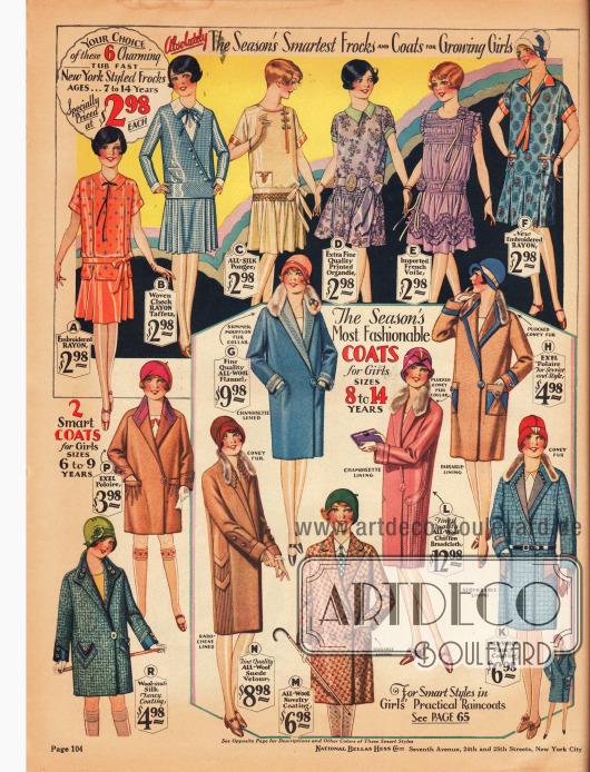 """Oben werden sechs Kleider für Mädchen im Alter von 7 bis 14 Jahren aus besticktem Rayon, kariertem Rayon-Taft, Seidengewebe, bedrucktem Organdy und französischem Schleierstoff gezeigt.Unten rechts befinden sich sechs Mäntel aus Woll-Flanell, Woll-Chiffon-Breitgewebe, """"Polaire"""" (Woll-Rayon Mischstoff), Woll-Veloursleder und reinen Wollgeweben für 8 bis 14-jährige Mädchen. Drei der Mantelkragen sind mit Kaninchen- und eines ist mit Mufflonpelz verbrämt.Unten links werden noch zwei Mäntel aus Polaire und Woll-Seide für 6 bis 9-jährige Mädchen präsentiert."""
