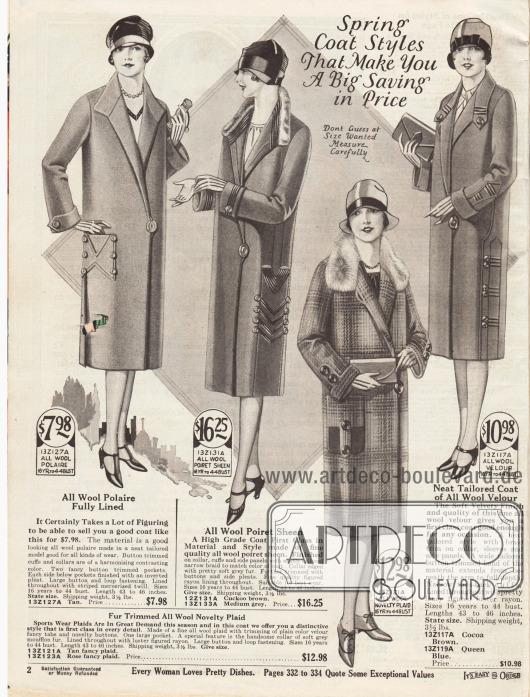 """""""Frühjahrsmäntel die Ihnen eine große Ersparnis ermöglichen"""" (engl. """"Spring Coat Styles That Make You A Big Saving in Price""""). Drei Damenmäntel und ein Sportmantel (drittes Modell) aus """"wool polaire"""", Poiret Wolle, groß kariertem Wollstoff oder Woll-Velours. Der Sportmantel ist überdies mit Mufflonfell (Wildschaf) verbrämt und das zweite Modell mit grauem nicht näher definiertem grauen Pelz. Alle Mäntel werden mittels eines großen Knopfes seitlich geschlossen. Seitliche Paneele aus Stickereien oder Tressen sowie aufgesetzte Taschen geben den Mänteln das besondere Etwas."""