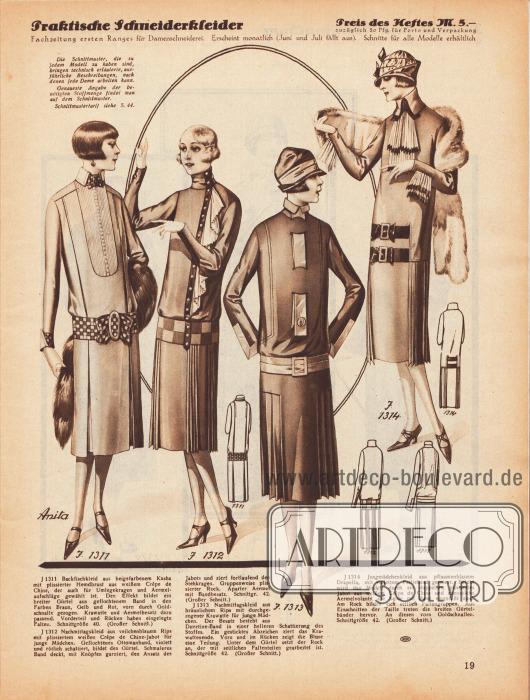1311: Backfischkleid aus beigefarbenem Kasha mit plissierter Hemdbrust aus weißem Crêpe de Chine, der auch für Umlegekragen und Ärmelaufschläge gewählt ist. Den Effekt bildet ein breiter Gürtel aus geflochtenem Band in den Farben Braun, Gelb und Rot, vorn durch Goldschnalle gezogen. Krawatte und Ärmelbesatz dazu passend. Vorderteil und Rücken haben eingelegte Falten.1312: Nachmittagskleid aus veilchenblauem Rips mit plissiertem weißen Crêpe de Chine-Jabot für junge Mädchen. Geflochtenes Ottomanband, violett und rötlich schattiert, bildet den Gürtel. Schmaleres Band deckt, mit Knöpfen garniert, den Ansatz des Jabots und ziert fortlaufend den Stehkragen. Gruppenweise plissierter Rock. Aparter Ärmel mit Bandbesatz.1313: Nachmittagskleid aus bräunlichem Rips mit durchgezogener Krawatte für junge Mädchen. Der Besatz besteht aus Duvetine-Band in einer helleren Schattierung des Stoffes. Ein gesticktes Abzeichen ziert das Krawattenende. Vorn und im Rücken zeigt die Bluse eine Teilung. Unter dem Gürtel setzt der Rock an, der mit seitlichen Faltenteilen gearbeitet ist.1314: Jungmädchenkleid aus pflaumenfarbenem Drapella, mit violettem Failleband garniert. Belebt wird das Modell durch ein doppeltes, plissiertes Jabot aus weißem Crêpe de Chine und ebensolche Ärmelvolants, die beide mit Band eingefaßt sind. Am Rock bilden sich seitlich Faltengruppen. Aus Einschnitten der Taille treten die breiten Gürtelbänder hervor. An diesen vorn Goldschnallen.