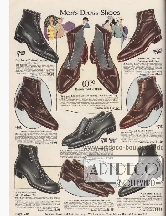 """""""Anzugschuhe für Männer"""" (engl. """"Men's Dress Shoes""""). Ausschließlich rahmengenähte (""""Goodyear welted"""") Halbschuhe und Stiefeletten aus braunem oder schwarzem Kalbsleder oder Cordovan-Leder (Pferdeleder) für 6,98 bis 10,50 Dollar. Bei einigen Stiefeletten wurden die Schäfte aus andersfarbigen oder angerauten, stumpfen Ledern hergestellt, so dass ein zweifarbiger Effekt entsteht. Der Großteil der Modelle zeigt die Oxford-Schnürung (geschlossene Schnürung, hier """"Balmoral Lace Shoe""""), ein Paar links unten die Derby-Schnürung (Derbyschaftschnitt mit offener Schnürung). Alle Paare mit Lyralochung an der geraden Querkappe, zwei Modelle mit Flügelkappe, davon eines mit Vorderkappenmuster (Lochlinienverzierung), sog. Fullbrogue."""