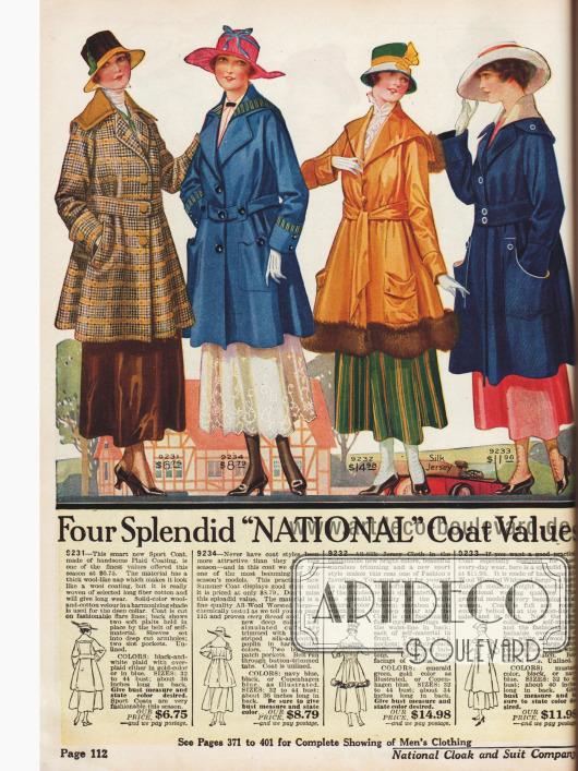 Damenmäntel aus Baumwolle, Wolle, Seiden-Jersey mit Marabufedern Besatz.