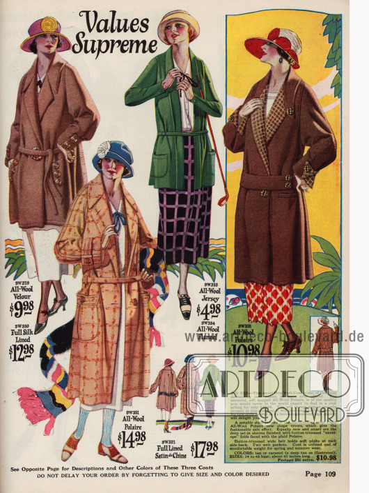 Weit geschnittene, lose gegürtete Damenmäntel aus Woll-Velours, Woll-Polaire und Woll-Jersey. 2 der Mäntel sind sportliche Zwecke ideal geeignet und folglich kurz gehalten. Der lange Mantel unten im Vordergrund wird auch als Automobil Mantel angepriesen.