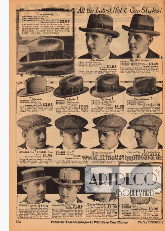 Herrenhüte aus Filz, Wolle, leichten Strohsorten für den Sommer und Velours. Viele Hüte zeigen Ripsbänder mit Schleifen. Die angebotenen Hüte sind Panamas (unten links), ein Karlsbad (unten rechts), Schiebermützen, Fedoras und Homburg Hüte.