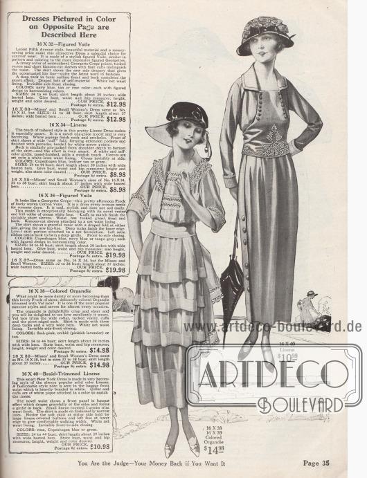 Zwei günstige Sommerkleider für den Nachmittag aus Organdy oder Leinen. Doppelkragen, Brust und Ärmelaufschläge des ersten Kleides sind mit Spitze und Hohlnähten berandet. Die Tunika mit mehreren Volants ist mit Blenden gesäumt. Langer Schärpengürtel aus gleichfarbigem Satin mit Spitzenenden. Das zweite Kleid mit Tonnenrock zeigt eine harnischartige Taille, die mit Knöpfen und weißen Stickereien versehen ist. Kragen- und Aufschlaggarnitur sind aus Pikee gearbeitet. Rock mit seitlichem Knopfverschluss.