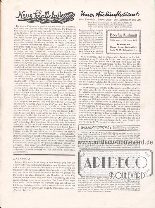 Artikel: O. V., Neue Schallplatten; O. V., Anekdote; O. V., Unser Auskunftsdienst über Wirtschafts-, Steuer-, Miets- und Rechtsfragen aller Art; O. V., Wissenswertes.
