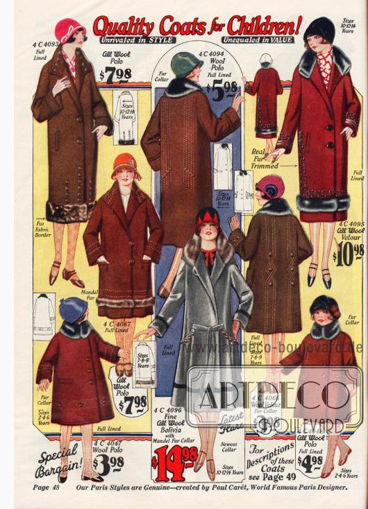 Wärmende Mäntel für Mädchen im Alter von 2-14 Jahren.