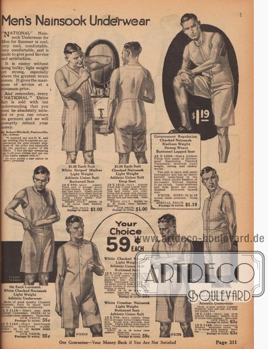 """""""Herrenunterwäsche aus Nainsook"""" (engl. """"Men's Nainsook Underwear""""). Sommerlich leichte, hochwertige und ärmellose Hemdhosen mit knielangen Beinen aus gestreiftem Madras (Baumwollstoff) oder kariertem Nainsook (leichtes Musselin, Baumwollstoff). Die Hemdhosen besitzen Knopfleisten in der Front und einen leicht zu öffnenden Klappsitz auf der Rückseite. Unten links und rechts sind zwei zweiteilige Modelle bestehend aus Unterhemd und Unterhose zu finden."""