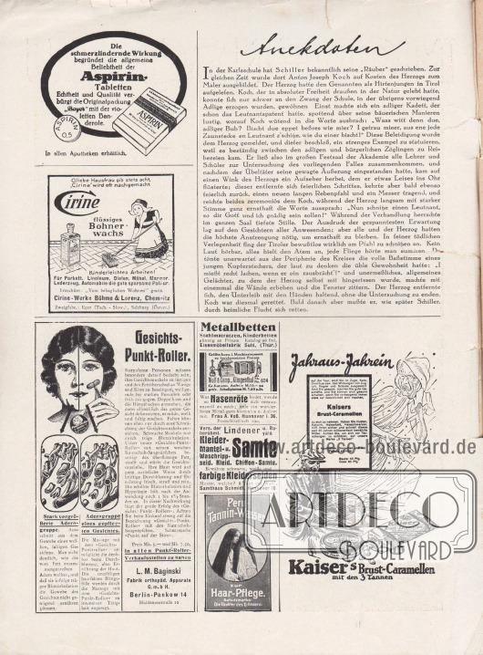 """Artikel: O. V., Anekdoten.  Werbung: Aspirin Tabletten, """"Echtheit und Qualität verbürgt die Originalpackung 'Bayer' mit der violetten Banderole"""", Aspirin von Bayer; """"O, liebe Hausfrau gib stets acht, 'Cirine' wird oft nachgemacht"""", flüssiges Bohnerwachs, Cirine-Werke Böhme & Lorenz, Chemnitz; """"Gesichts-Punkt-Roller"""", L. M. Baginski, Fabrik orthopäd. Apparate G. m. b. H., Berlin-Pankow 14, Hiddenseestraße 10; """"Metallbetten, Stahlmatratzen, Kinderbetten"""", Eisenmöbelfabrik Suhl, (Thür.); """"Größte Ausw. i. Musikinstrument. zu herabgesetzten Preisen"""", Wolf & Comp., Klingenthal; """"Wer an Nasenröte leidet, wende sich vertrauensvoll an mich"""", Frau A. Voß, Hannover I. 36, Postschließfach 299; Lindener Kleider-, Mantel- und Waschripp-Samte und farbige Kleiderseiden, Samthaus Schmidt, Hannover 16; """"Peru-Tannin-Wasser zur Haar-Pflege. Schutzmarke: Die Töchter des Erfinders""""; """"Jahraus-Jahrein"""", Kaiser's Brust-Caramellen mit den 3 Tannen."""