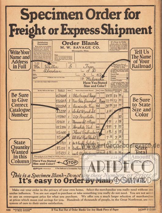 Rückseite des eingebundenen Bestellscheins mit einem exemplarisch ausgefüllten Bestellschein.