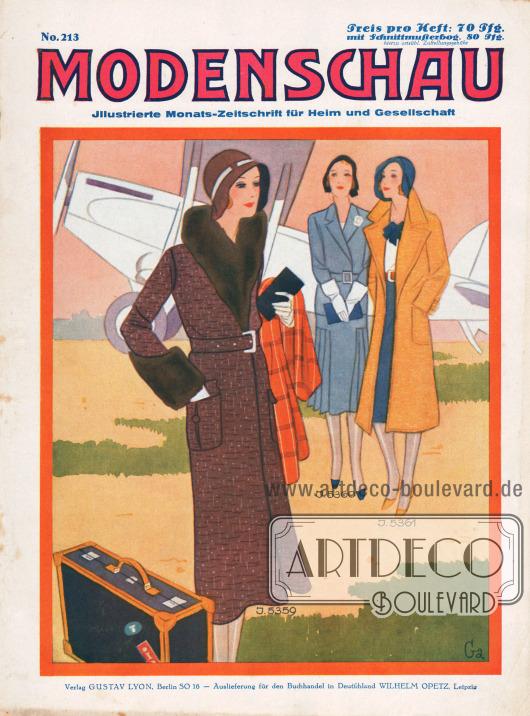 """Titelseite der deutschen Illustrierten Modenschau Nr. 213 vom September 1930.Titelzeichnung: """"Ga."""""""