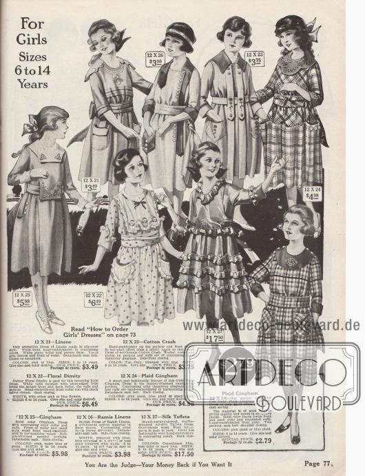 """Einfache bis elegante Straßen-, Schul- und Sonntagskleider sowie Sommerkleider für 6 bis 14-jährige Mädchen. Gefertigt sind die Kleider aus Leinen, """"Ramie""""-Leinen (Baumwollgewebe in Leinenwebung), """"Cotton Crash"""" (Baumwollstoff), kariertem Gingham, gemustertem Dimity (dt. """"Barchent"""", Mischgewebe aus Baumwolle und Leinen) oder Seiden-Taft. Die Mädchenkleider sind mit Stickereien, Rüschen, aufgesetzten Taschen, Biesen, kleinen Knöpfen, langen, übergreifenden Patten oder farblich abstechenden Garnituren ausgestattet."""