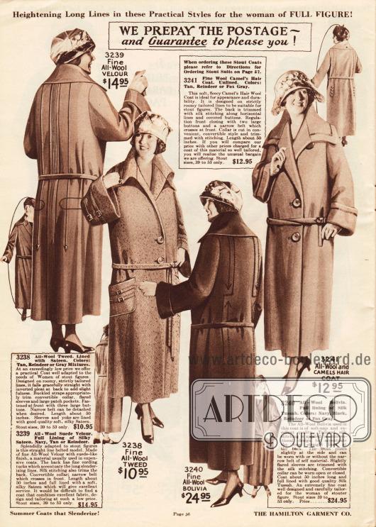 Frühjahrsmäntel aus Woll-Tweed, Woll-Bolivia oder Kamelhaarwolle für vollschlanke Damen.Der erste Mantel zeigt Biesen und Paspeln sowie Stickerei im Rücken. Der zweite Mantel zeigt eine doppelreihige Stoffborte um die glockigen Unterärmel, die auch über die aufgesetzten Taschen gelegt wurde. Durch die Schnallen wirken sie wie kleine Gürtel. Das dritte Modell ist mit Seide gefüttert und zeigt vertikale Stickerei in der Rückenpartie. Auch das vierte Modell aus Kamelhaar zeigt Stickerei im Rücken, kommt jedoch ohne Futter aus.