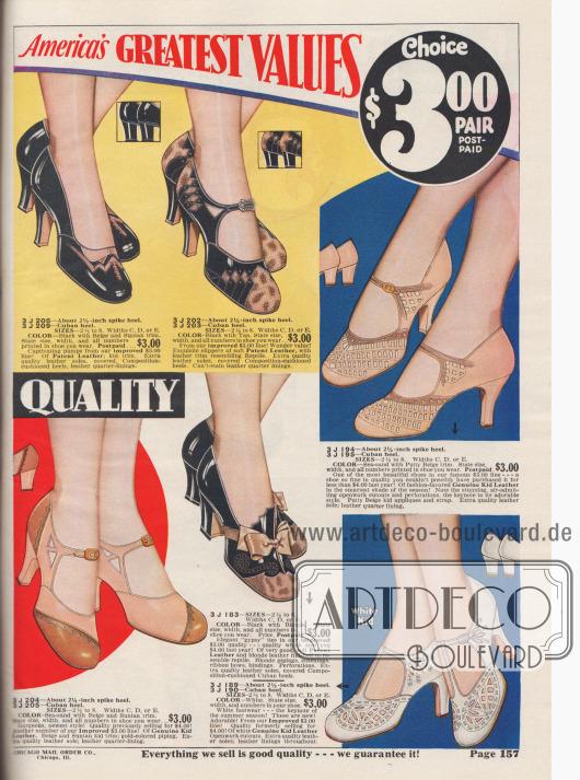 Doppelseite mit vielen Variationen an Damenschuhen: T-Schnallen, einfache Schnallen, mit oder ohne Perforation, kubanische oder spitze und hohe Absätze.