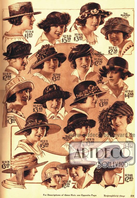 Hüte garniert mit Bändern, Früchten, Schleifen, Federn oder auch Quasten.