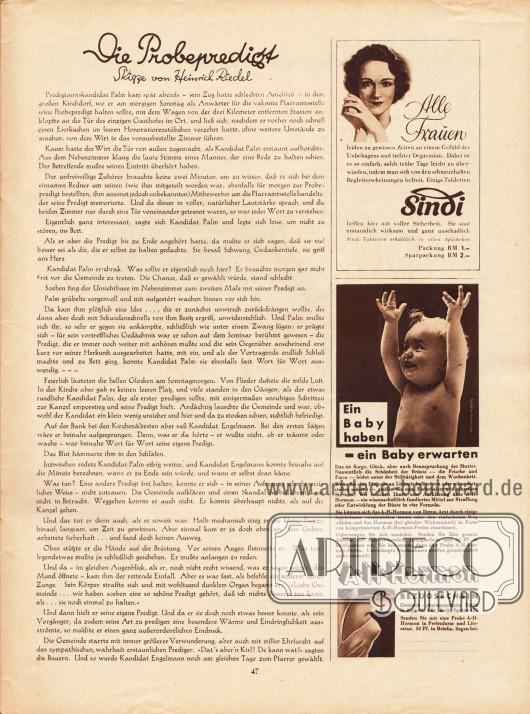 Artikel:Riedel, Heinrich, Die Probepredigt.Werbung:Sindi&#x3B;A-H-Hormon.