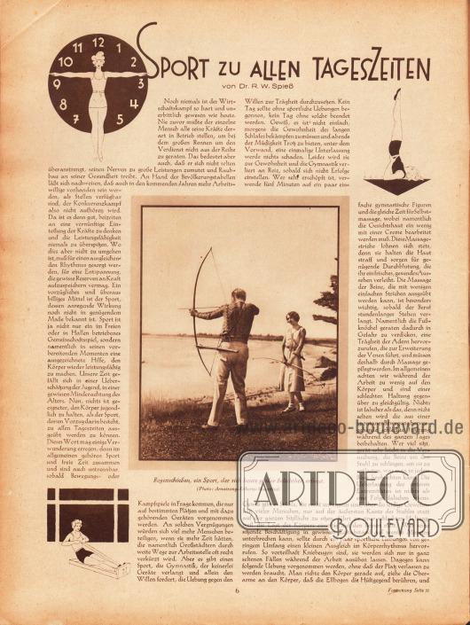 """Artikel:Spieß, Dr. R. W., Sport zu allen Tageszeiten.Mit einer Fotografie mit der Bildunterschrift """"Bogenschießen, ein Sport, der sich heute größter Beliebtheit erfreut.""""Illustrationen: Boht.Foto: Armstrong-Roberts-Mauritius."""