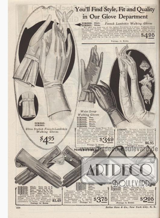 """""""Stil, Passform und Qualität finden Sie in unserer Handschuhabteilung"""" (engl. """"You'll Find Style, Fit and Quality in Our Glove Department""""). Elegante und feine, kurze und lange Lederhandschuhe für Damen aus Lammleder, Capeskin Leder (Ziegenleder vom Kap der Guten Hoffnung, Südafrika), glaciertem Lammleder oder importiertem französischem Leder zu Preisen von 2,95 bis 6,95 Dollar. Die Damenhandschuhe waren in den Farben Hellbraun, Grau, Braun, Schwarz oder Weiß bestellbar. Riemen an den Handgelenken oder Druckknöpfe dienen als Verschluss für die Handschuhe. Rückseiten mit Nahtverstärkungen."""