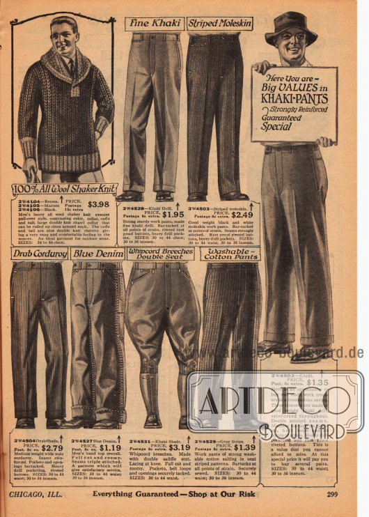 Doppelseite mit Anzug-, Arbeits- und Sporthosen sowie einer Strickjacke und einem Strickpullover aus Wolle für Männer. Die Hosen bestehen aus Baumwollstoffen, Kord, Englischleder, Jeansstoff und Khaki. Die Reithosen bestehen aus Khaki oder Kord.