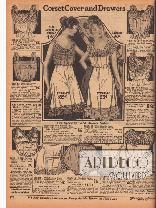 """""""Damenuntertaillen und Schlupfhöschen"""" (engl. """"Corset Cover and Drawers""""). Die Damenunterwäsche ist aus Nainsook (leichter Baumwollmusselin), Baumwoll-Krepp, Batist oder Seiden-Crêpe de Chine hergestellt. Die Untertaillen besitzen Träger und sind mit Zugbändern an der Taille sowie mit Schleifchen am Ausschnitt ausgestattet. Spitze und Stickereien sind obligatorisch. Die Schlupfhöschen sind kurz oder lang und zeigen rockweites Beinkleid. Die Säume der Höschen sind mit Rüschen, Volants und Spitze versehen."""