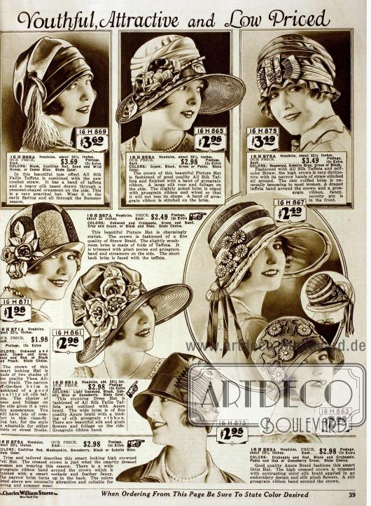 Doppelseite mit breit- und kurzkrempigen Damenhüten aus Wollfilz, Rosshaar, Taft, Seiden Taft und unterschiedlichen Stroharten. Ripsbänder in verschiedenen Breiten, Seidenblüten und Seidenquasten stellen die reichen Garnierungen.