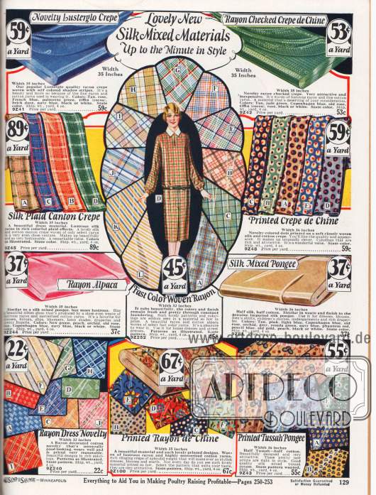 Seiden-Mischgewebe für Damen- und Mädchenkleider, Unterwäsche, Blusen und Hemden. Die Nähstoffe sind glänzendes Rayon Krepp, kariertes Rayon Krepp, Seiden-Kanton Krepp, bedrucktes Seiden-Baumwoll-Crêpe de Chine, Rayon-Alpaka, farbechtes Rayon-Gewebe, importiertes Seiden-Pongee-Mischgewebe, Rayon-Baumwollgewebe, merzerisiertes Baumwollgewebe mit Beimischung von Rayon sowie bedruckte Tussah Seide mit Baumwollbeimischung. Die Stoffpreise liegen zwischen 22 und 89 Cent pro Yard (91,44 cm), wobei die Stoffbreite der Meterware zwischen 32 und 36 Inch variiert (81,3 und 91,44 cm).