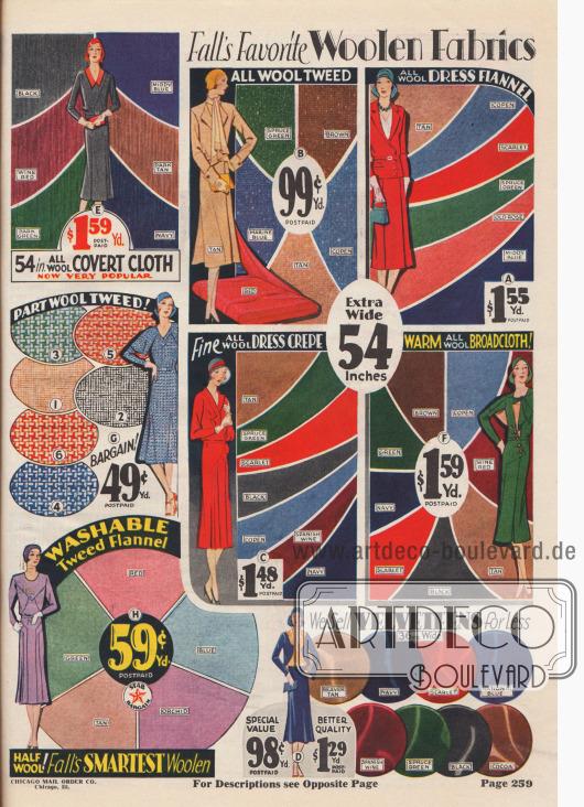 Oberstoffe für Kleider und Mäntel wie Wolltweed, Flanell, Walkstoff, Tweed-Flanell und Samt.