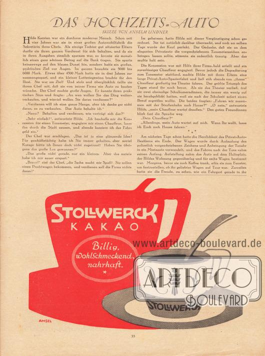 """Artikel: Lindner, Anselm, Das Hochzeits-Auto. Skizze von Anselm Lindner. Werbung: Stollwerck Kakao """"Billig, wohlschmeckend, nahrhaft"""". Illustration/Zeichnung: """"Amsel""""."""