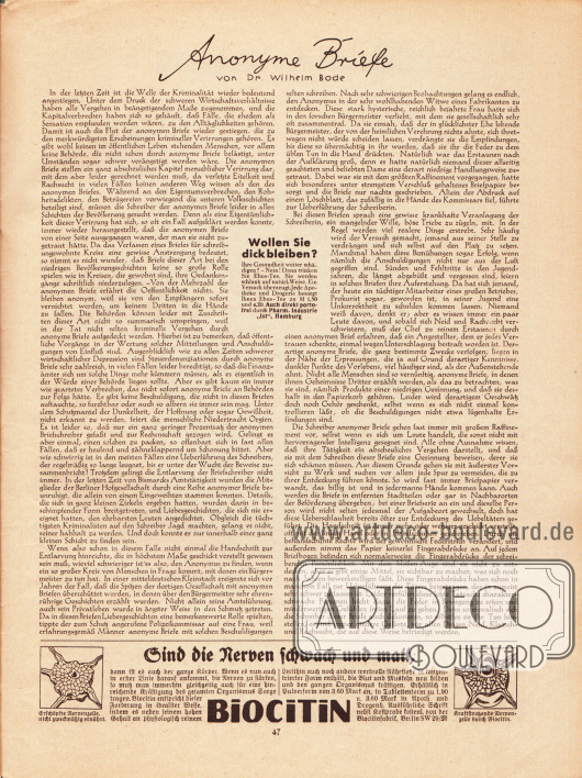 """Artikel: Bode, Dr. Wilhelm, Anonyme Briefe. Werbung: Ebus-Tee, Pharm. Industrie """"Ist"""", Hamburg; Biocitin, Biocitinfabrik, Berlin SW 29/M."""