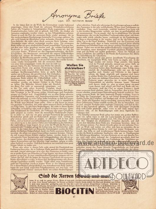 "Artikel:Bode, Dr. Wilhelm, Anonyme Briefe.Werbung:Ebus-Tee, Pharm. Industrie ""Ist"", Hamburg&#x3B;Biocitin, Biocitinfabrik, Berlin SW 29/M."