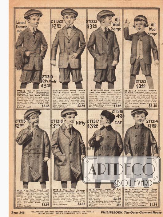 Drei Anzüge für Jungen im Alter von vier bis zehn Jahre im Norfolk Stil aus Baumwoll-Woll Mischstoffen und Woll-Serge, ein Anzug für Jungen im Alter von drei bis acht Jahren aus reinem Woll-Serge und vier wetterfeste Mäntel ebenfalls für Jungen im gleichen Alter aus Wollstoffen.