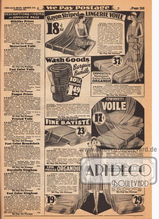 """Preiswerte Stoffe für zarte Unterwäsche und leichte Sommerkleider wie Rayon-Schleierstoff, importiertes Schweizer Organdy, merzerisiertes Batist und Schleierstoff. Die Preise für ein Yard (91,44 cm) liegen zwischen 17 und 37 Cent. In der Mitte wird auch ein Bündel (engl. """"Bargain Bundle"""") mit verschiedenen Stoffresten zum Preis von 1,49 Dollar für 10 Yard verkauft, das für Kinderkleider, Spielkleider, Blusen oder Schürzen verwendet werden kann. Rechts befinden sich die Erläuterungen für die Stoffe auf der gegenüberliegenden Seite 214."""
