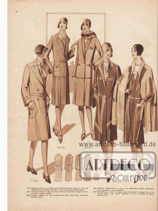 5530: Manteau pratique en lainage clair de forme blousée, vague. Le dos très intéressant se complique de plis et d'un empiècement asymétrique. 5531: Costume tailleur en whipcord rayé de forme strictement anglaise. Veste ceinturée, poches inédites. 5532: Costume tailleur en reps de laine bleu clair. Petite veste masculine, bordure jaune. 5533: Manteau d'après-midi en soie ou en charmelaine marine. Parements, col et parements en soie blanche. 5534: Ensemble-cape. Robe et longue cape combinées en lainage clair et en lainage foncé. Cape ample, échancrée du dos et formant des fentes pour les bras.