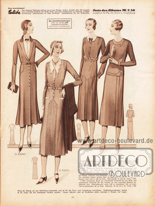 5850: Mantelkleid aus braunem Wollrips, vorn geknöpft. Eine helle Tuchweste füllt den Ausschnitt. Kragen, Schleife und Gürtelschnalle im dunkleren Ton. 5851: Praktisches Kleid aus bräunlichem Tweed mit Faltengruppe und Knopfschluss. Die Pikeegarnitur ist effektvoll gezackt. 5852: Einfaches Kleid aus feinem Wollrips oder Wollgeorgette. Rock mit breiten Tollfalten und Hüftpasse, der oben Patten angeschnitten sind. Die seitlichen Patten greifen über den schmalen Stoffgürtel. 5853: Sportliches Kleid aus einfarbigem Wollstoff für den Rock und gemustertem Wirkstoff für den Jumper, an dem einfarbige Blenden angebracht sind.