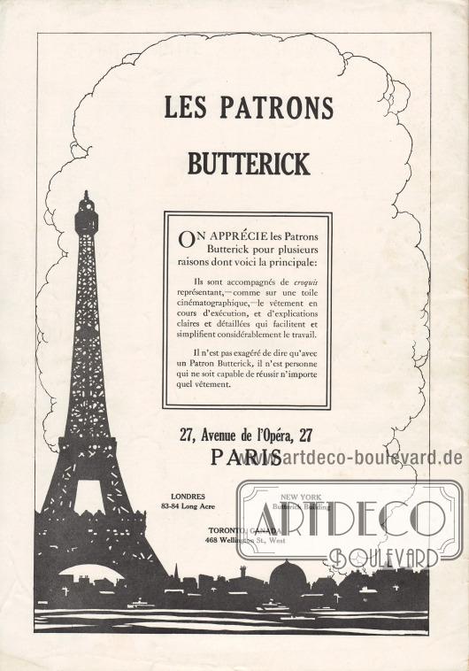 Rückseite mit der Werbung für die eigenen Butterick Schnittmuster, die über die französische Niederlassung 27, Avenue de l'Opéra, 27, Paris erhältlich waren.