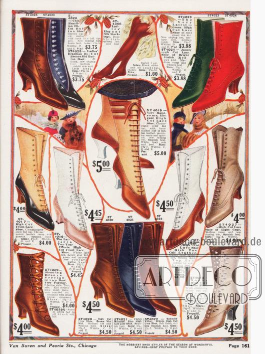 Hochgeschlossene, elegante Damenstiefel aus Ziegenleder und Lackleder. Stiefel aus zwei-farbigem Leder (Mitte), ein Schnallenstiefel (links unten) und Stiefel mit großzügigen Ausstanzungen (rechts unten) sind besonders modisch. Besonders charakteristisch für die Stiefel sind sehr spitze Kappen und mittel hohe, geschwungene spanische Absätze.