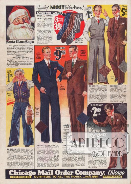 Anzüge für modebewusste junge Männer und Westen und westenartige Pullover mit passenden, weiten Hosen für Jungen von 6 bis 17 Jahren.