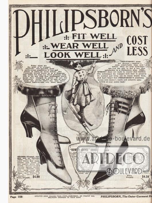 """""""Philipsborn's Glove Fitting Shoes"""" (dt. """"Philipsborns Schuhe wie angegossen""""). Beginn der Damenschuhabteilung mit zwei besonders schicken Damenstiefeletten. Die hochgeschlossenen Schnürstiefeletten sind aus zweifarbigen Ledern (Chevreauleder und Lackleder) gefertigt und zeigen mittelhohe, geschwungene Louis XIV Absätze, spitze Kappen und leichte Perforationen und Ausstanzungen."""