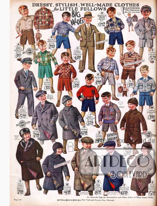 """""""Schicke, modische, gut verarbeitete Kleidung für kleine Kameraden"""".Spielanzüge zum Rennen und Toben aus Wolle und Jersey. Auch langbeinige Anzüge aus Wolle und Kaschmire für Jungs von 5 bis 10 Jahren (C, F) und zweireihige Mäntel sind im Angebot."""