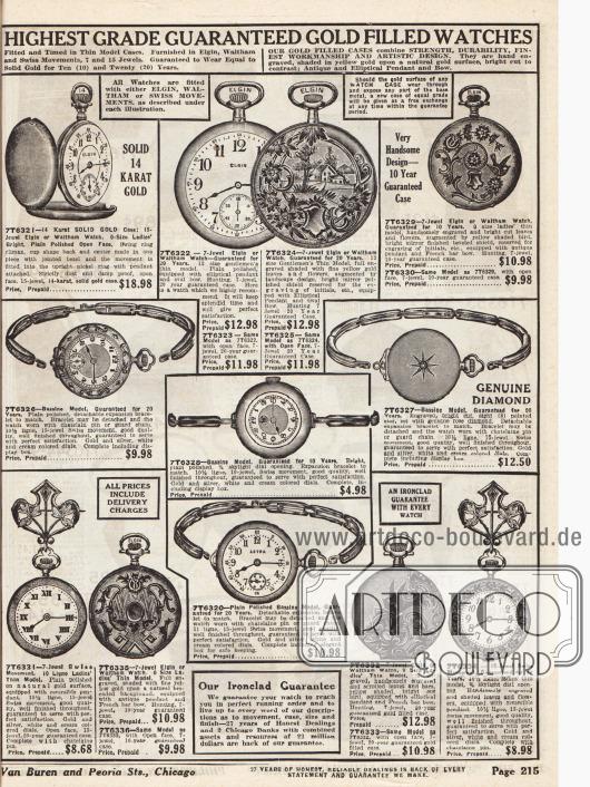 Vergoldete Armband- und Taschenuhren, teilweise mit Edelsteinen besetzt, für Männer und Frauen mit unterschiedlichen Ziffernblättern und rückseitigen Verzierungen zum aufziehen. Einzelne Uhren besitzen auch Sekundenzeiger. Die Preise rangieren zwischen 4,98 und 18,98 Dollar. Einzelne Uhren sind von der Marke Elgin.