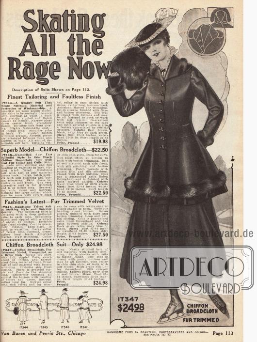 """""""Skating is all the Rage Now"""" (dt. """"Schlittschuhlaufen ist in""""). Damenkostüm aus Woll-Popeline, mit Samtkragen und Verbrämung aus nordamerikanischem Fichtenmarder. Beidseitige Abnäher in der Taille, acht Verschlussknöpfe für die Jacke und ein Rock mit Plisseefalte in der Front sind charakteristisch für dieses Kostüm."""